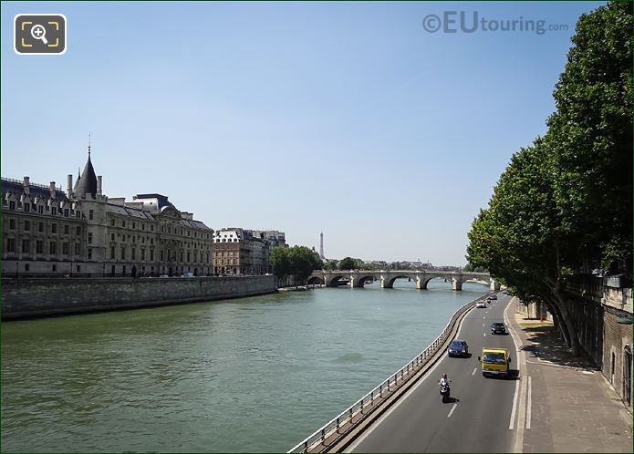 View Of River Seine And Voie Georges Pompidou Road Paris