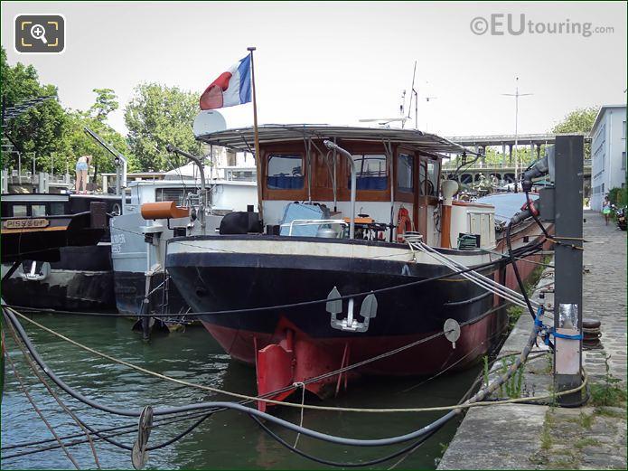 River Seine Boats Moored Along Port De Grenelle