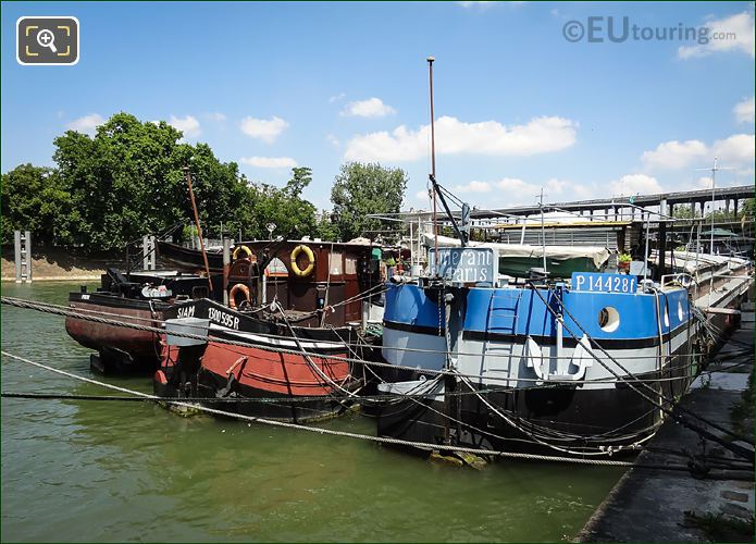 Houseboats Along Port De Grenelle Paris