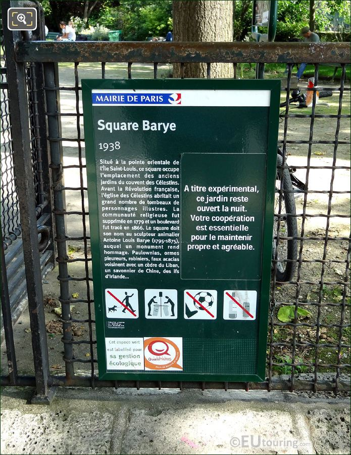 Square Barye Information Board