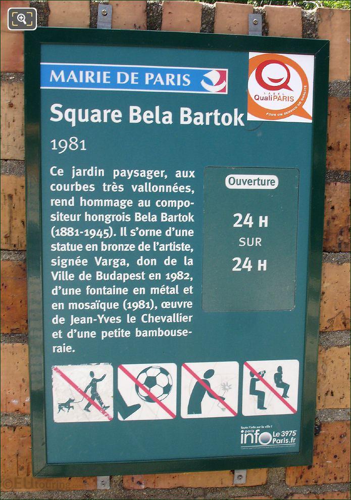 Square Bela Bartok In Paris