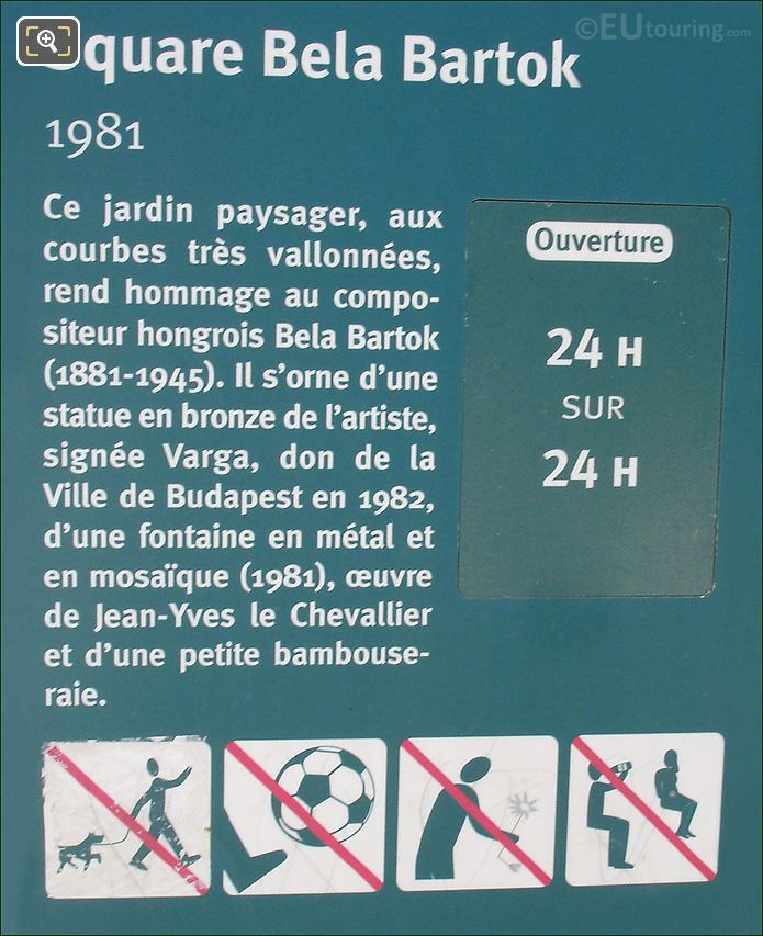 Square Bela Bartok Plaque