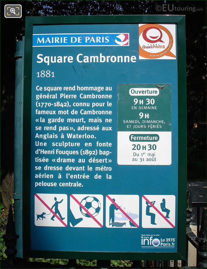Square Cambronne Information Board