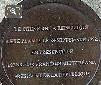 Tourist Info Plaque Le Chene De La Republique Monument