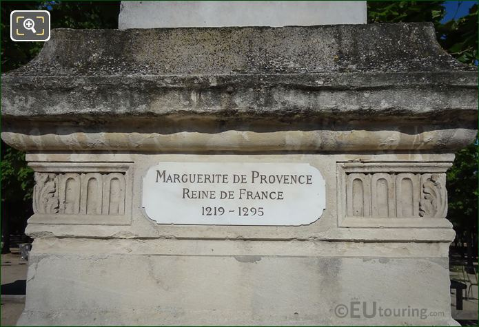 Name Plaque On Statue Marguerite De Provence Pedestal