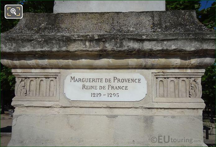 Name Plaque On Statue Marguerite De Provence Pedestal