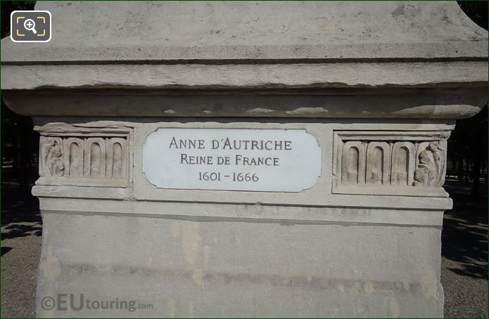 Name Plaque On Anne d'Autriche Statue