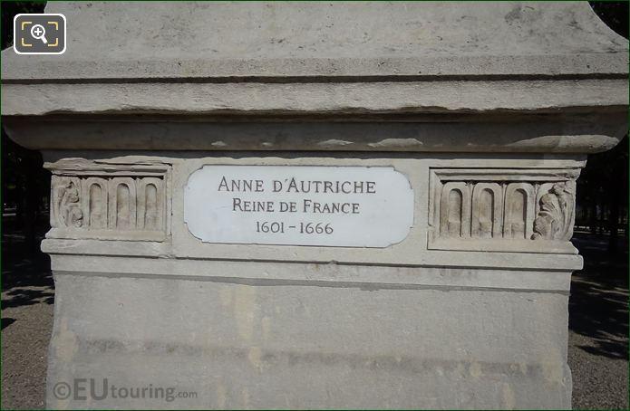 Name Plaque On Anne d'Autriche Statue