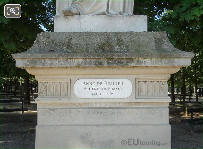 Year And Name Plaque Anne De Beaujeu Statue