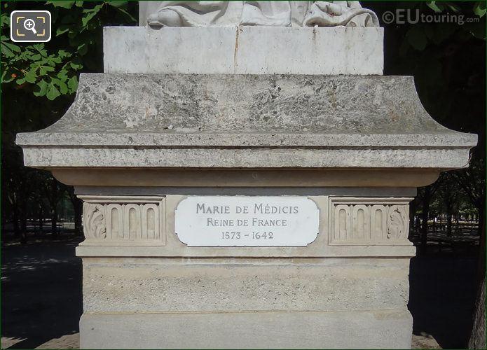 Name Plaque On Marie De Medicis Statue