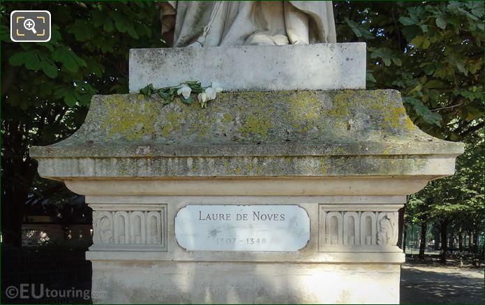 Plaque On Laure De Noves Statue