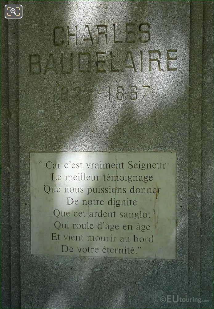Inscriptions On Charles Baudelaire Monument