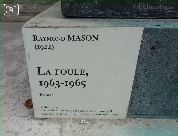 Information Plaque On La Foule Sculpture