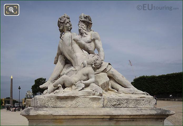 Female, Young Boy Figures La Seine Et La Marne Statue