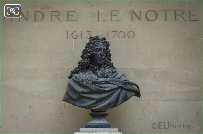 Bronze Bust Of Andre Le Notre In Jardin Des Tuileries