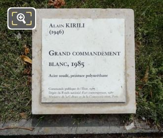 Information Plaque Grand Commandement Blanc Sculptures