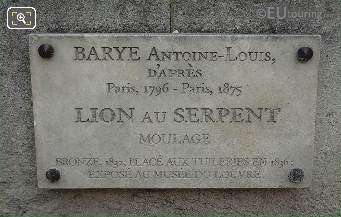 Information Plaque On Lion Au Serpent Statue