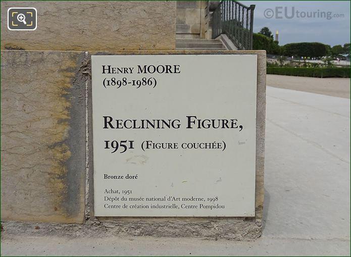 Tourist Information Plaque For The Reclining Figure Sculpture