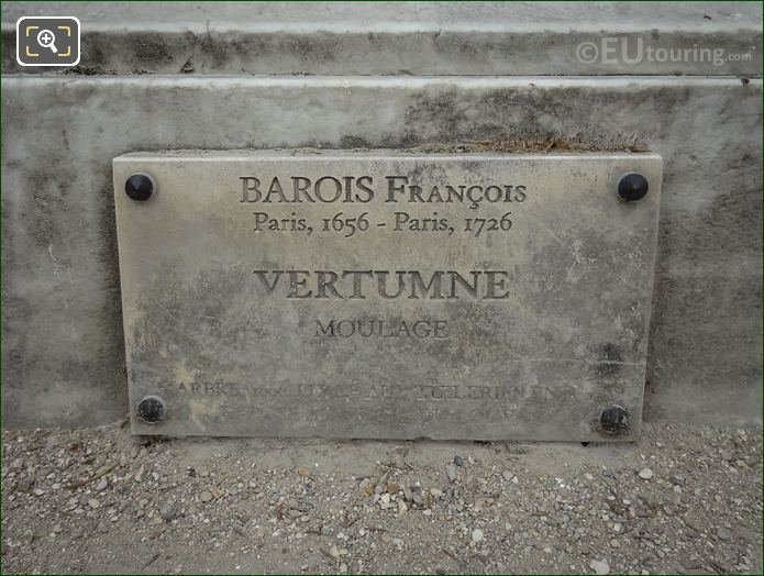 Information Plaque On Vertumne Statue