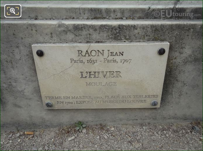 Information Plaque On L'Hiver Statue In Jardin Des Tuileries