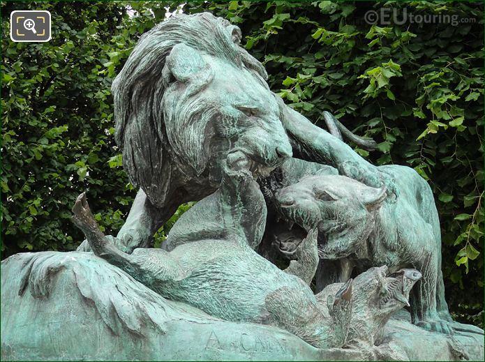 Lion Et Lionne Se Disputant Un Sanglier Statue By Sculptor Auguste Cain