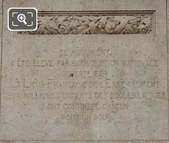Eastside Pedestal Inscription On Jules Ferry Monument