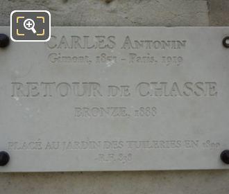 Stone Plaque On Retour De Chasse Pedestal