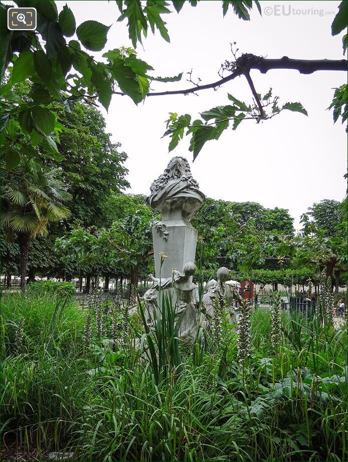 Back View Of Charles Perrault Monument In Tuileries Gardens