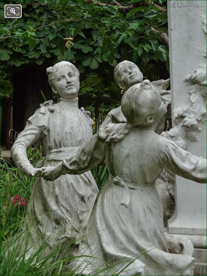 Three Children Statues On Charles Perrault Monument