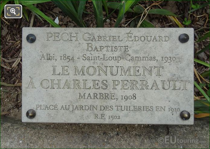 Information Plaque For Charles Perrault Monument