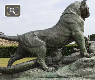 Bronze Tigre Terrassant Un Crocodile Statue By Auguste Nicolas Cain