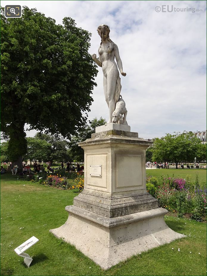 The Nymphe Statue On Its Stone Pedestal