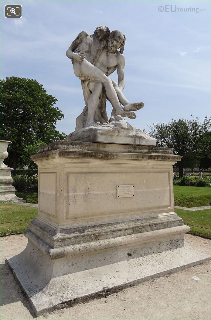 Le Bon Samaritain Statue On Stone Pedestal