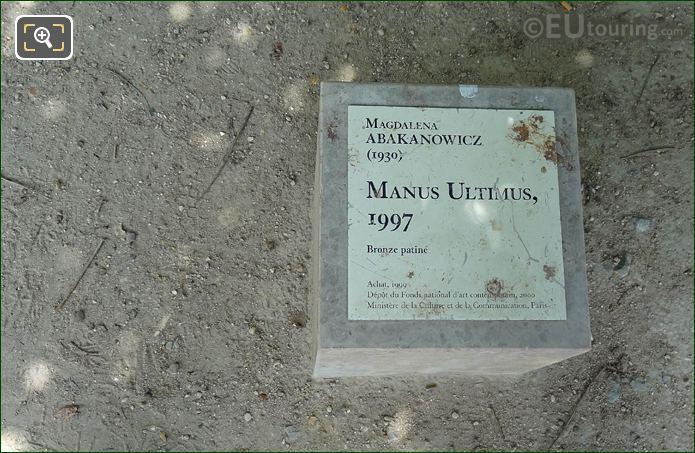 Tourist Info Plaque Manus Ultimus Sculpture