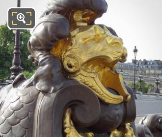 Gilded Lions Head Pont Alexandre III NW Plaque