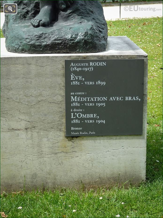 Information Plaque On Bronze Eve Statue By Rodin