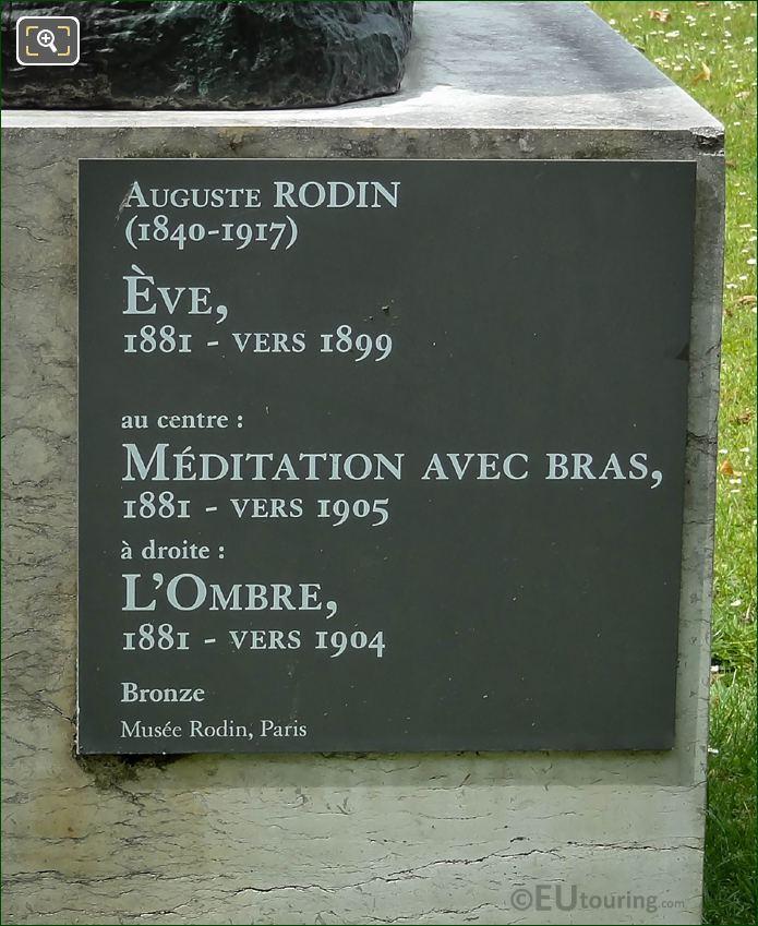 Name Plaque For The Meditation Avec Bras Statue