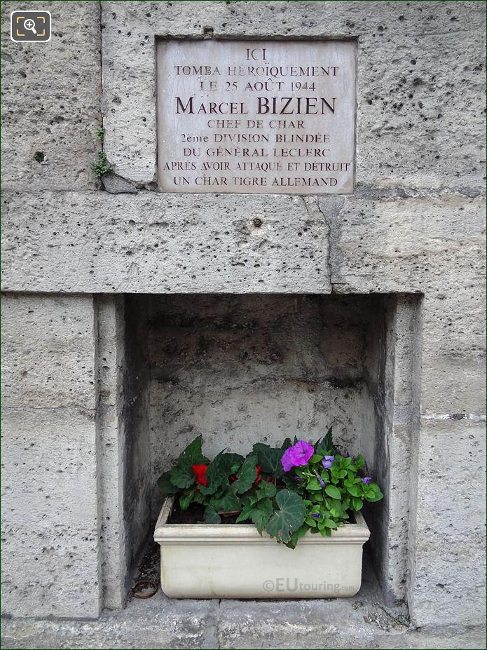 Marcel Bizien WW II Memorial Plaque NW Wall Tuileries Gardens