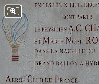 1st Manned Hydrogen Balloon Flight Commemorative Plaque