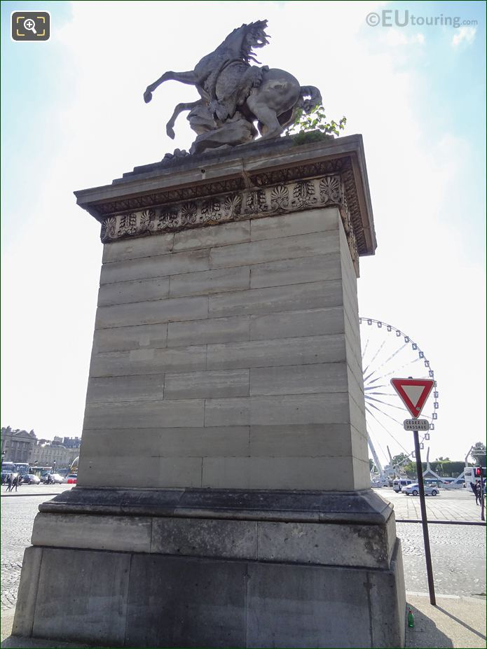 Horse Of Marly Statue On Stone Pedestal