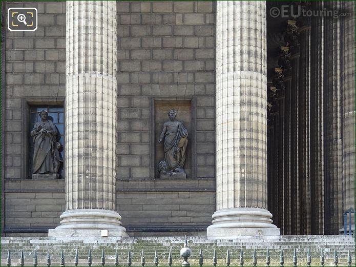 Saint Marc Statue Between Columns On Eglise De La Madeleine