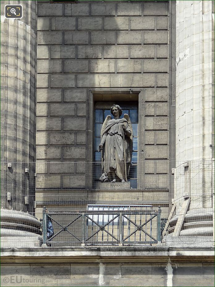 Saint Raphael Statue On Eglise De La Madeleine