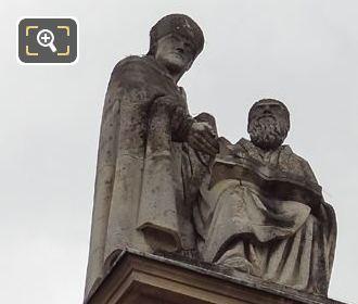 Les Peres De l'Eglise Statue On Pedestal At Eglise Saint-Roch