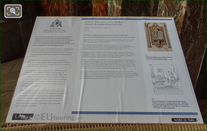 Tourist Information Board For Andre Le Notre Bust At Eglise Saint-Roch