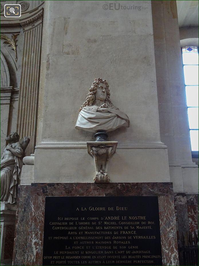 Andre Le Notre Bust And Plaque On Eglise Saint-Roch Column