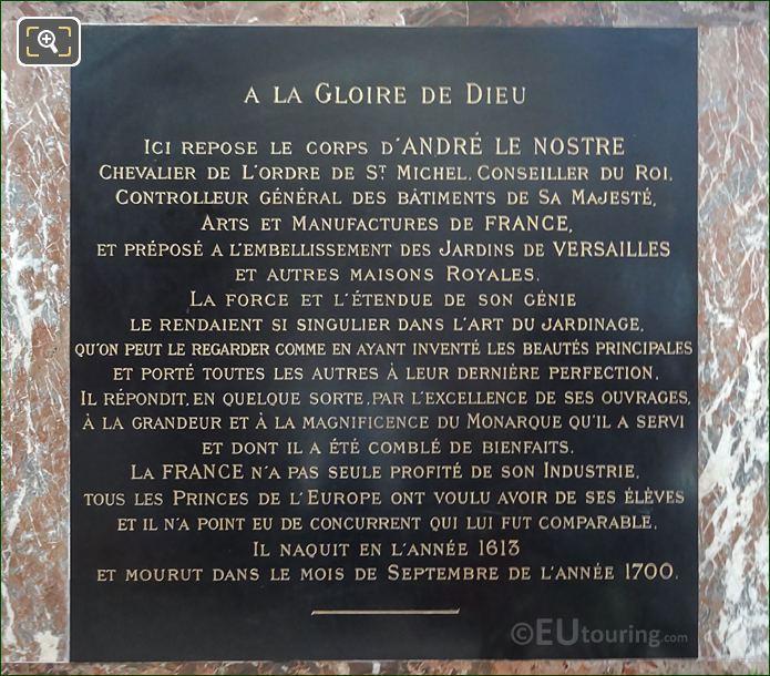 Funeral Epitaph Plaque Under Andre Le Notre Bust Statue