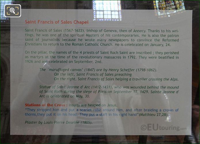 Tourist Information Board For Sainte Jeanne d'Arc Statue