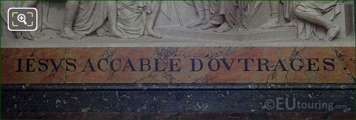 Inscription On Jesus Accable d'Outrages Sculpture At Eglise Saint-Roch