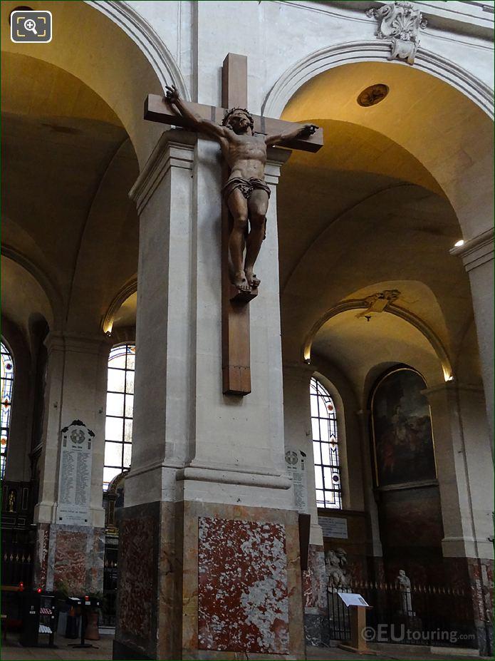 Christ On The Cross Sculpture On Column Inside Eglise Saint-Roch