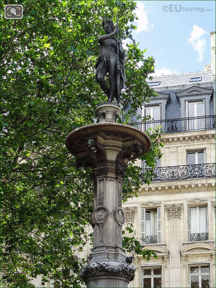 Nymphe Marine Statue On Fountain Pedestal